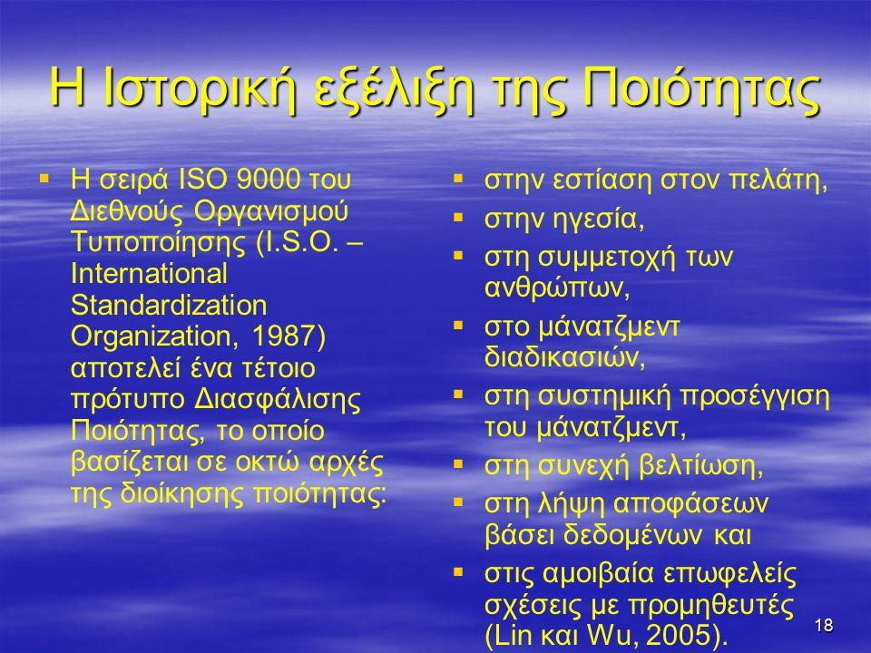 18 Η Ιστορική εξέλιξη της Ποιότητας   Η σειρά ISO 9000 του Διεθνούς Οργανισμού Τυποποίησης (I.S.O.