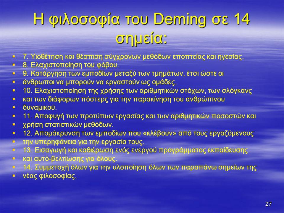 27 Η φιλοσοφία του Deming σε 14 σημεία:   7.