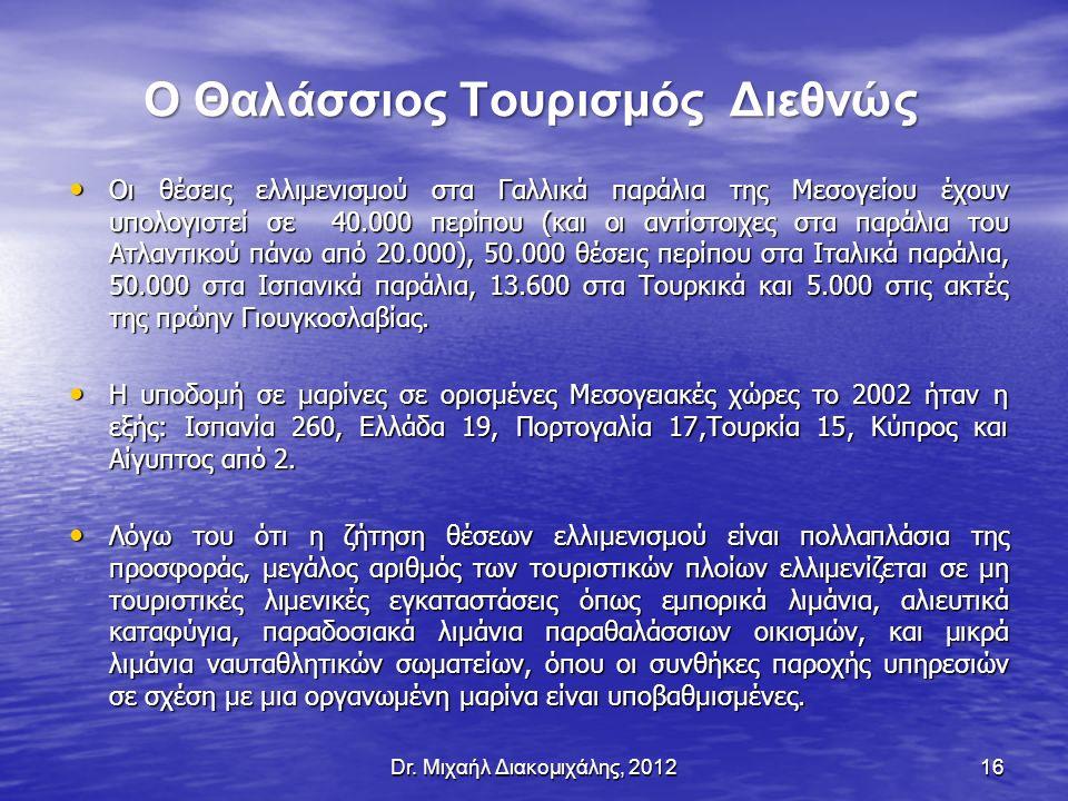 Ο Θαλάσσιος Τουρισμός Διεθνώς Οι θέσεις ελλιμενισμού στα Γαλλικά παράλια της Μεσογείου έχουν υπολογιστεί σε 40.000 περίπου (και οι αντίστοιχες στα παράλια του Ατλαντικού πάνω από 20.000), 50.000 θέσεις περίπου στα Ιταλικά παράλια, 50.000 στα Ισπανικά παράλια, 13.600 στα Τουρκικά και 5.000 στις ακτές της πρώην Γιουγκοσλαβίας.