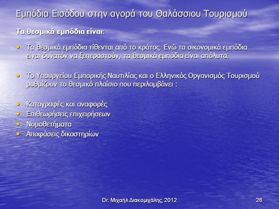 Dr. Μιχαήλ Διακομιχάλης, 201226 Εμπόδια Εισόδου στην αγορά του Θαλάσσιου Τουρισμού Τα θεσμικά εμπόδια είναι: Τα θεσμικά εμπόδια τίθενται από το κράτος