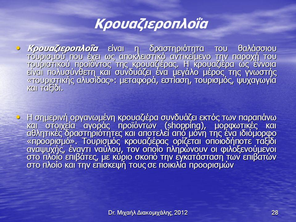 Dr. Μιχαήλ Διακομιχάλης, 201228 Κρουαζιεροπλοΐα είναι η δραστηριότητα του θαλάσσιου τουρισμού που έχει ως αποκλειστικό αντικείμενο την παροχή του τουρ