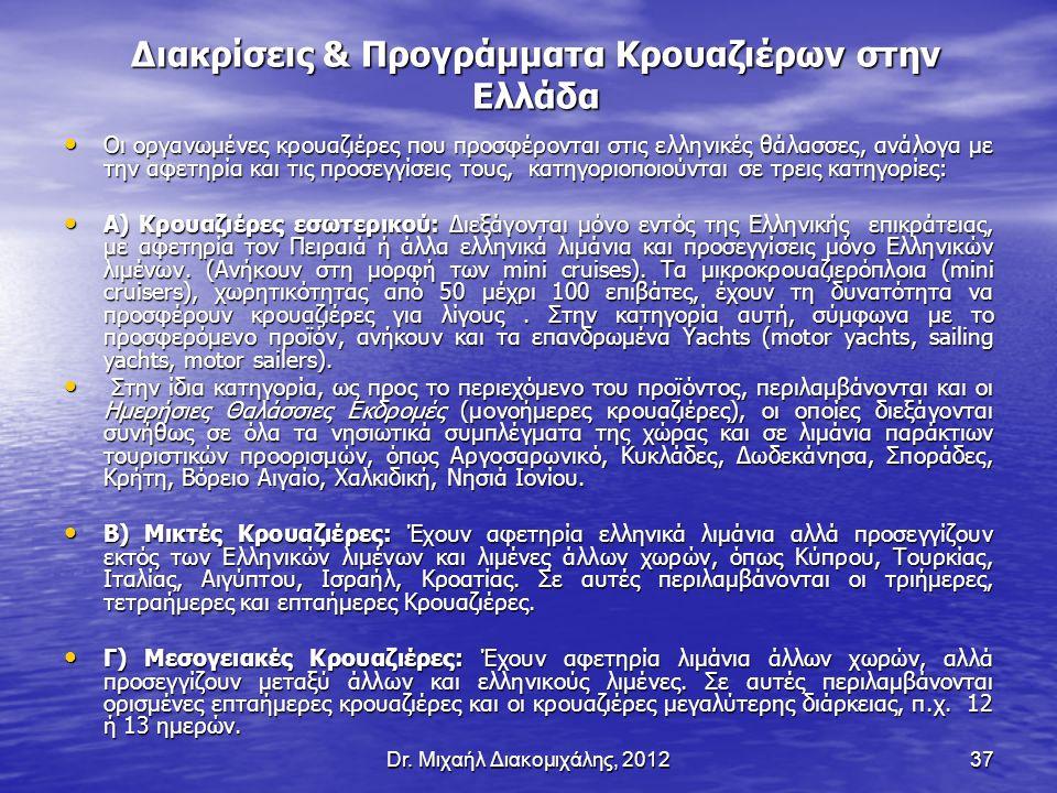 Dr. Μιχαήλ Διακομιχάλης, 201237 Διακρίσεις & Προγράμματα Κρουαζιέρων στην Ελλάδα Οι οργανωμένες κρουαζιέρες που προσφέρονται στις ελληνικές θάλασσες,