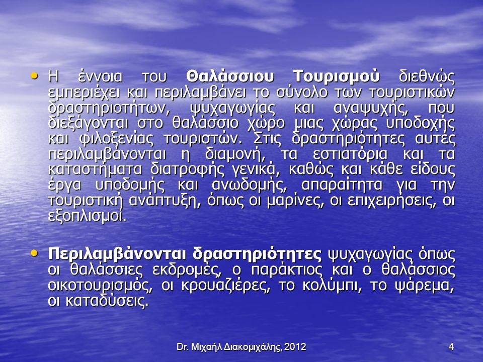 Ο Θαλάσσιος Τουρισμός Διεθνώς Η ανάπτυξη του Θαλάσσιου Τουρισμού στην ευρύτερη περιοχή της Μεσογείου εμφανίστηκε το 1960.