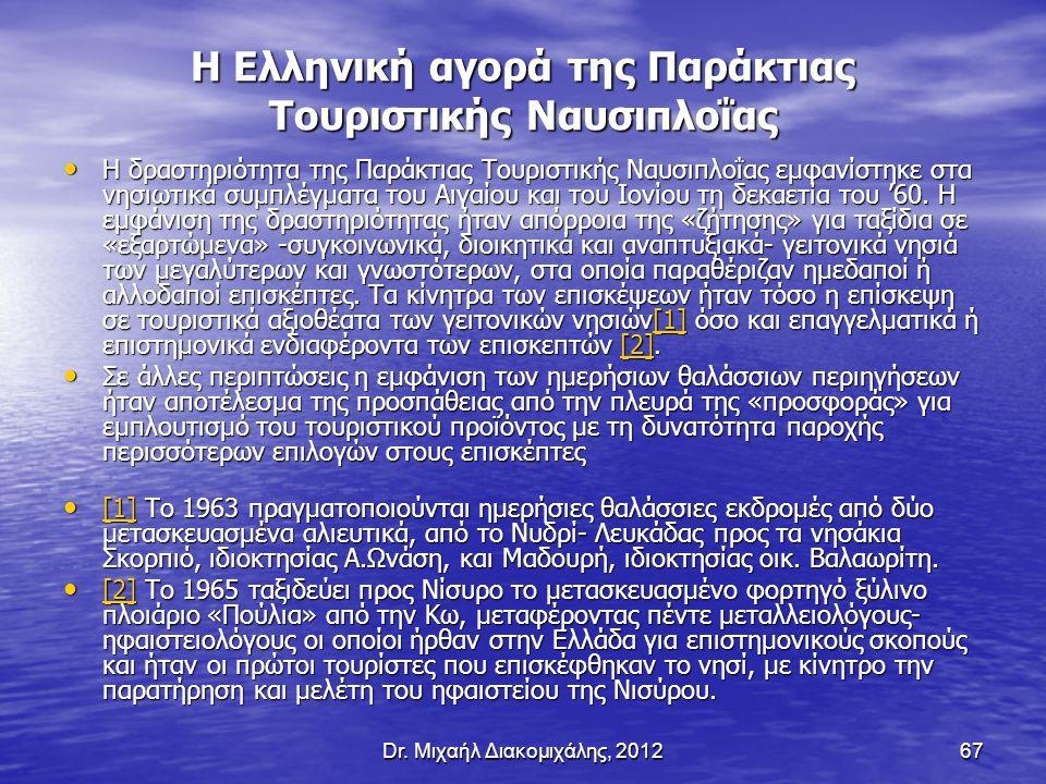 Dr. Μιχαήλ Διακομιχάλης, 201267 Η Ελληνική αγορά της Παράκτιας Τουριστικής Ναυσιπλοΐας Η δραστηριότητα της Παράκτιας Τουριστικής Ναυσιπλοΐας εμφανίστη