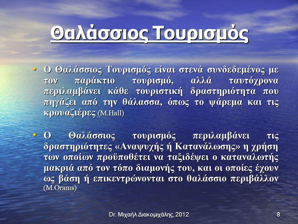 Θαλάσσιος Τουρισμός O Θαλάσσιος Τουρισμός είναι στενά συνδεδεμένος με τον παράκτιο τουρισμό, αλλά ταυτόχρονα περιλαμβάνει κάθε τουριστική δραστηριότητα που πηγάζει από την θάλασσα, όπως το ψάρεμα και τις κρουαζιέρες (M.Hall) O Θαλάσσιος Τουρισμός είναι στενά συνδεδεμένος με τον παράκτιο τουρισμό, αλλά ταυτόχρονα περιλαμβάνει κάθε τουριστική δραστηριότητα που πηγάζει από την θάλασσα, όπως το ψάρεμα και τις κρουαζιέρες (M.Hall) O Θαλάσσιος τουρισμός περιλαμβάνει τις δραστηριότητες «Αναψυχής ή Κατανάλωσης» η χρήση των οποίων προϋποθέτει να ταξιδέψει ο καταναλωτής μακριά από τoν τόπο διαμονής του, και οι οποίες έχουν ως βάση ή επικεντρώνονται στο θαλάσσιο περιβάλλον (M.Orams) O Θαλάσσιος τουρισμός περιλαμβάνει τις δραστηριότητες «Αναψυχής ή Κατανάλωσης» η χρήση των οποίων προϋποθέτει να ταξιδέψει ο καταναλωτής μακριά από τoν τόπο διαμονής του, και οι οποίες έχουν ως βάση ή επικεντρώνονται στο θαλάσσιο περιβάλλον (M.Orams) 8Dr.
