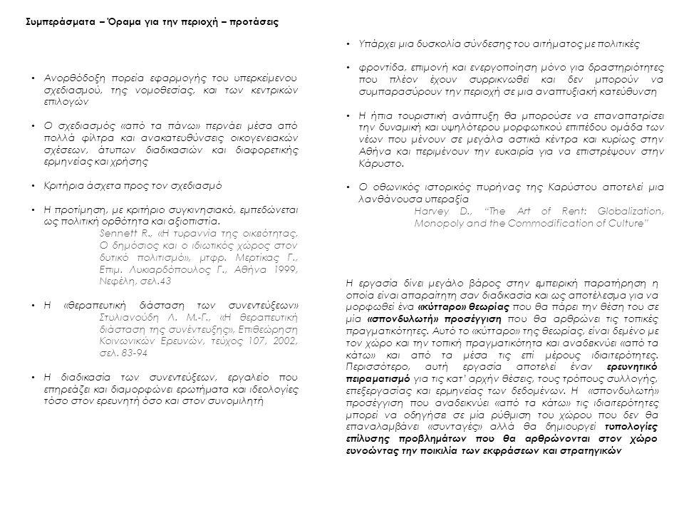 Συμπεράσματα – Όραμα για την περιοχή – προτάσεις Ανορθόδοξη πορεία εφαρμογής του υπερκείμενου σχεδιασμού, της νομοθεσίας, και των κεντρικών επιλογών Ο σχεδιασμός «από τα πάνω» περνάει μέσα από πολλά φίλτρα και ανακατευθύνσεις οικογενειακών σχέσεων, άτυπων διαδικασιών και διαφορετικής ερμηνείας και χρήσης Κριτήρια άσχετα προς τον σχεδιασμό Η προτίμηση, με κριτήριο συγκινησιακό, εμπεδώνεται ως πολιτική ορθότητα και αξιοπιστία.