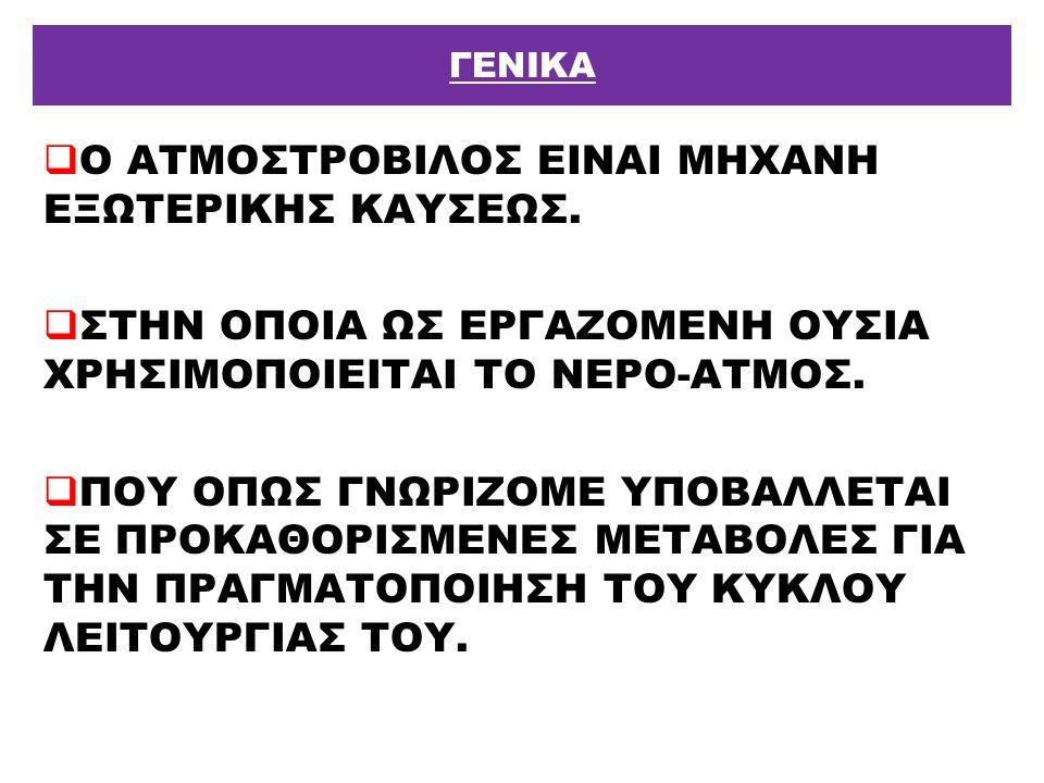  Ο ΑΤΜΟΣΤΡΟΒΙΛΟΣ ΕΙΝΑΙ ΜΗΧΑΝΗ ΕΞΩΤΕΡΙΚΗΣ ΚΑΥΣΕΩΣ.  ΣΤΗΝ ΟΠΟΙΑ ΩΣ ΕΡΓΑΖΟΜΕΝΗ ΟΥΣΙΑ ΧΡΗΣΙΜΟΠΟΙΕΙΤΑΙ ΤΟ ΝΕΡΟ-ΑΤΜΟΣ.  ΠΟΥ ΟΠΩΣ ΓΝΩΡΙΖΟΜΕ ΥΠΟΒΑΛΛΕΤΑΙ ΣΕ