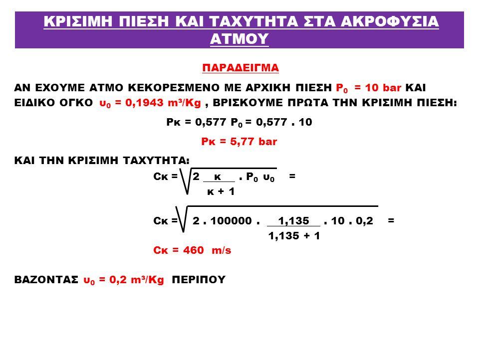 ΠΑΡΑΔΕΙΓΜΑ ΑΝ ΕΧΟΥΜΕ ΑΤΜΟ ΚΕΚΟΡΕΣΜΕΝΟ ΜΕ ΑΡΧΙΚΗ ΠΙΕΣΗ Ρ 0 = 10 bar ΚΑΙ ΕΙΔΙΚΟ ΟΓΚΟ υ 0 = 0,1943 m³/Kg, ΒΡΙΣΚΟΥΜΕ ΠΡΩΤΑ ΤΗΝ ΚΡΙΣΙΜΗ ΠΙΕΣΗ: Pκ = 0,577 Ρ