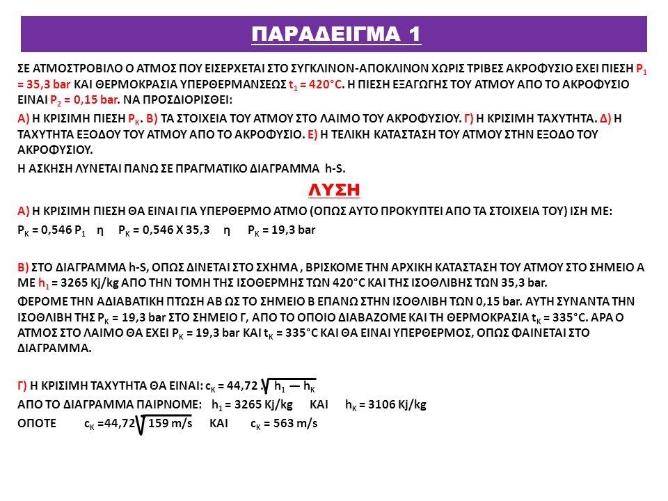 ΣΕ ΑΤΜΟΣΤΡΟΒΙΛΟ Ο ΑΤΜΟΣ ΠΟΥ ΕΙΣΕΡΧΕΤΑΙ ΣΤΟ ΣΥΓΚΛΙΝΟΝ-ΑΠΟΚΛΙΝΟΝ ΧΩΡΙΣ ΤΡΙΒΕΣ ΑΚΡΟΦΥΣΙΟ ΕΧΕΙ ΠΙΕΣΗ Ρ 1 = 35,3 bar ΚΑΙ ΘΕΡΜΟΚΡΑΣΙΑ ΥΠΕΡΘΕΡΜΑΝΣΕΩΣ t 1 = 4