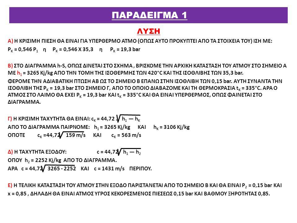 ΛΥΣΗ Α) Η ΚΡΙΣΙΜΗ ΠΙΕΣΗ ΘΑ ΕΙΝΑΙ ΓΙΑ ΥΠΕΡΘΕΡΜΟ ΑΤΜΟ (ΟΠΩΣ ΑΥΤΟ ΠΡΟΚΥΠΤΕΙ ΑΠΟ ΤΑ ΣΤΟΙΧΕΙΑ ΤΟΥ) ΙΣΗ ΜΕ: Ρ Κ = 0,546 Ρ 1 η Ρ Κ = 0,546 Χ 35,3 η Ρ Κ = 19,