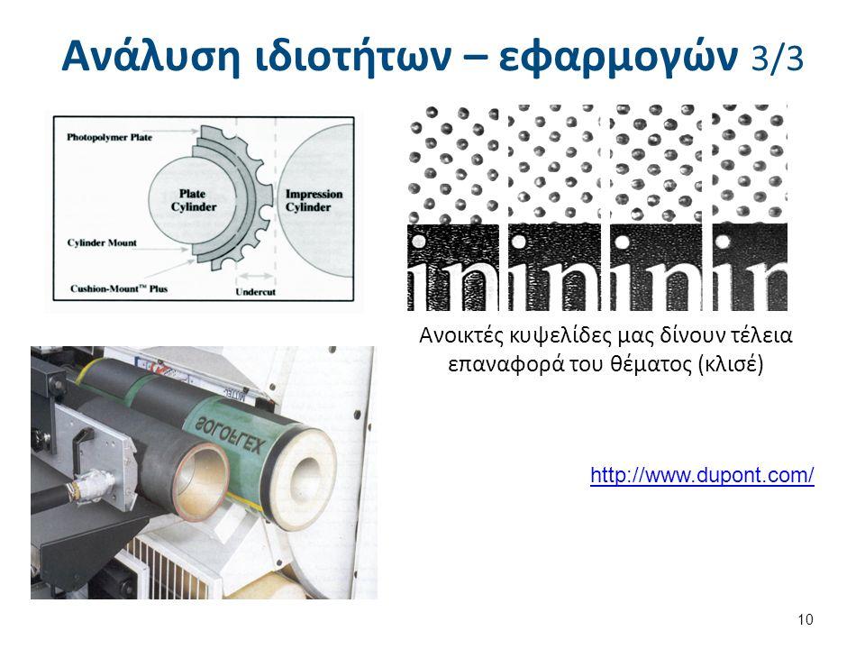 Ανάλυση ιδιοτήτων – εφαρμογών 3/3 10 Ανοικτές κυψελίδες μας δίνουν τέλεια επαναφορά του θέματος (κλισέ) http://www.dupont.com/
