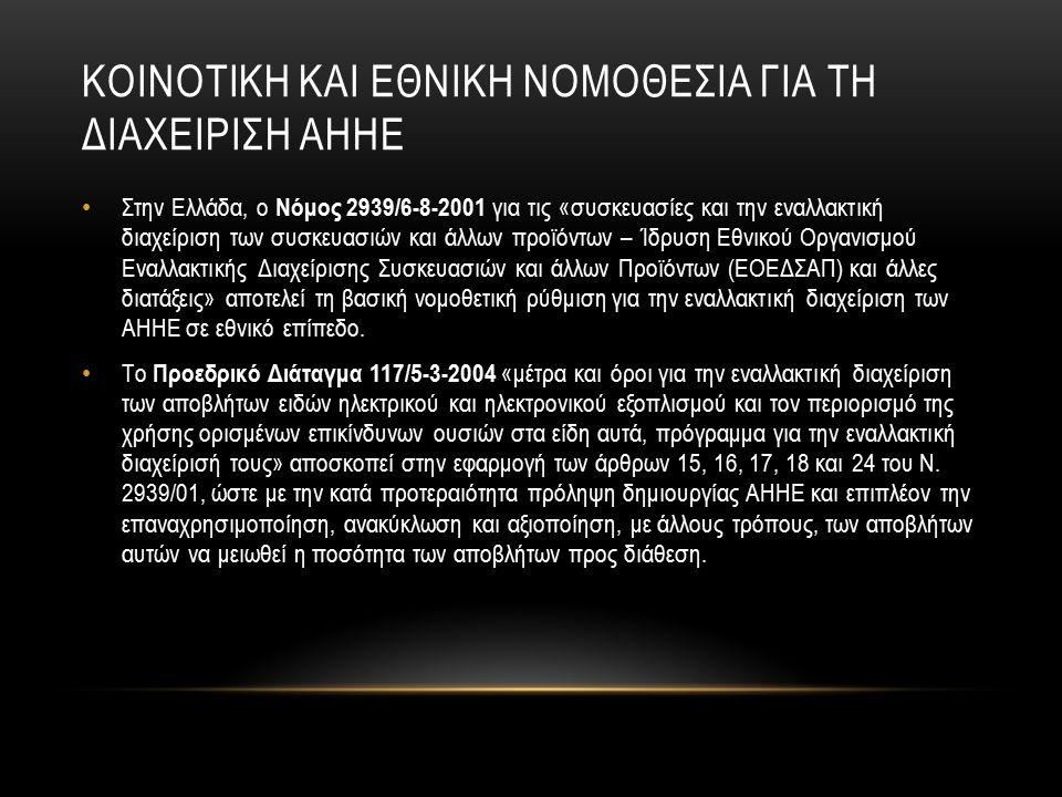 ΚΟΙΝΟΤΙΚΗ ΚΑΙ ΕΘΝΙΚΗ ΝΟΜΟΘΕΣΙΑ ΓΙΑ ΤΗ ΔΙΑΧΕΙΡΙΣΗ ΑΗΗΕ Στην Ελλάδα, ο Νόμος 2939/6-8-2001 για τις «συσκευασίες και την εναλλακτική διαχείριση των συσκευασιών και άλλων προϊόντων – Ίδρυση Εθνικού Οργανισμού Εναλλακτικής Διαχείρισης Συσκευασιών και άλλων Προϊόντων (ΕΟΕΔΣΑΠ) και άλλες διατάξεις» αποτελεί τη βασική νομοθετική ρύθμιση για την εναλλακτική διαχείριση των ΑΗΗΕ σε εθνικό επίπεδο.