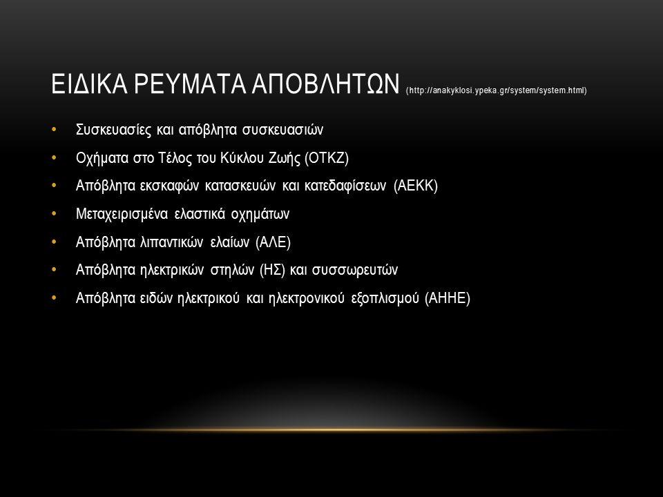 ΕΙΔΙΚΑ ΡΕΥΜΑΤΑ ΑΠΟΒΛΗΤΩΝ (http://anakyklosi.ypeka.gr/system/system.html) Συσκευασίες και απόβλητα συσκευασιών Οχήματα στο Τέλος του Κύκλου Ζωής (ΟΤΚΖ) Απόβλητα εκσκαφών κατασκευών και κατεδαφίσεων (ΑΕΚΚ) Μεταχειρισμένα ελαστικά οχημάτων Απόβλητα λιπαντικών ελαίων (ΑΛΕ) Απόβλητα ηλεκτρικών στηλών (ΗΣ) και συσσωρευτών Απόβλητα ειδών ηλεκτρικού και ηλεκτρονικού εξοπλισμού (ΑΗΗΕ)