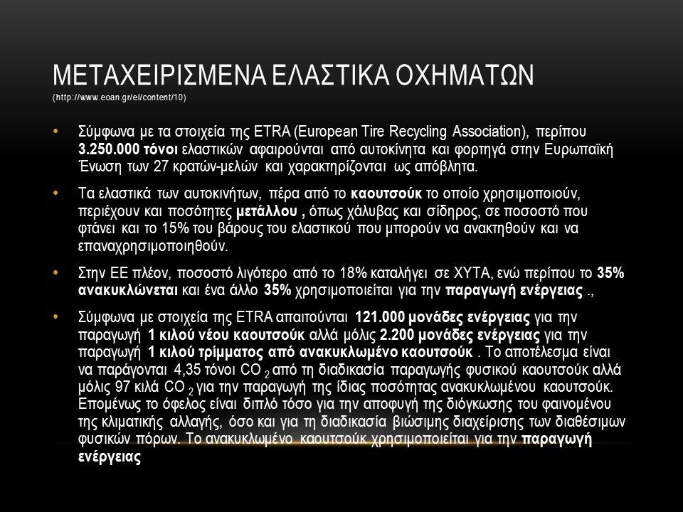 ΜΕΤΑΧΕΙΡΙΣΜΕΝΑ ΕΛΑΣΤΙΚΑ ΟΧΗΜΑΤΩΝ (http://www.eoan.gr/el/content/10) Σύμφωνα με τα στοιχεία της ETRA (European Tire Recycling Association), περίπου 3.250.000 τόνοι ελαστικών αφαιρούνται από αυτοκίνητα και φορτηγά στην Ευρωπαϊκή Ένωση των 27 κρατών-μελών και χαρακτηρίζονται ως απόβλητα.