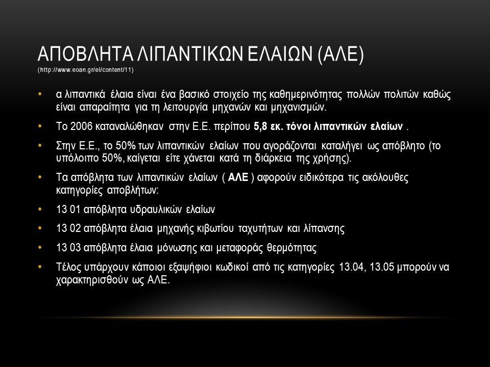 ΑΠΟΒΛΗΤΑ ΛΙΠΑΝΤΙΚΩΝ ΕΛΑΙΩΝ (ΑΛΕ) (http://www.eoan.gr/el/content/11) α λιπαντικά έλαια είναι ένα βασικό στοιχείο της καθημερινότητας πολλών πολιτών καθώς είναι απαραίτητα για τη λειτουργία μηχανών και μηχανισμών.