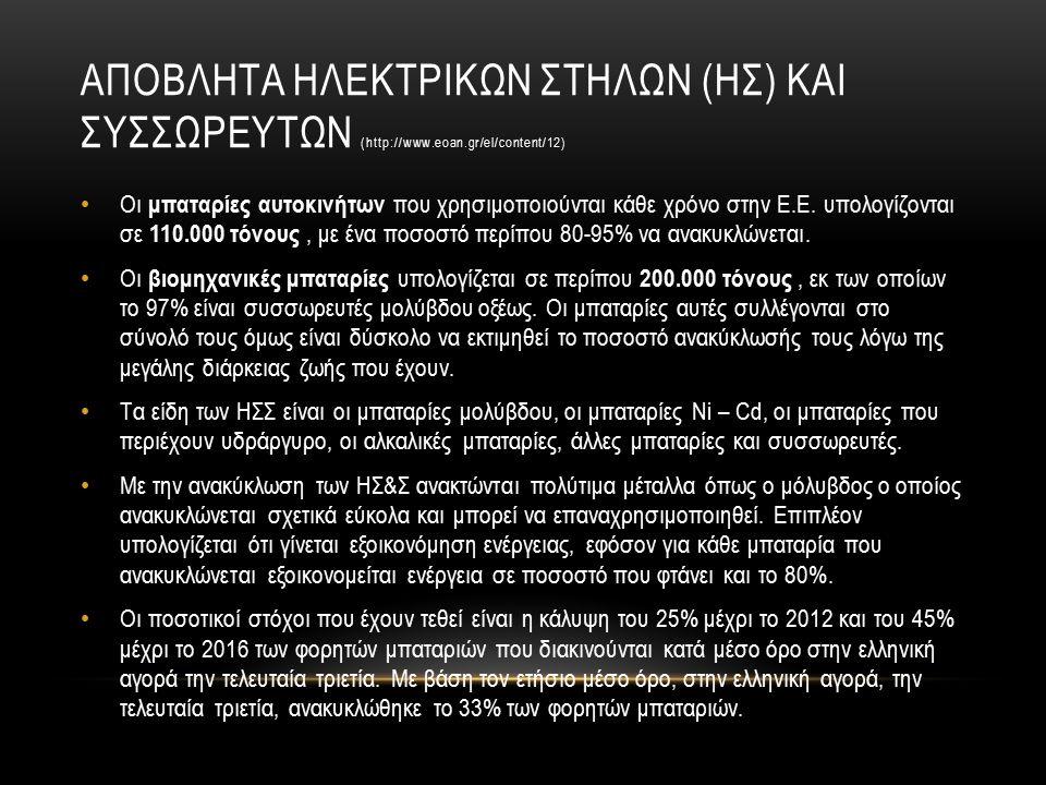 ΑΠΟΒΛΗΤΑ ΗΛΕΚΤΡΙΚΩΝ ΣΤΗΛΩΝ (ΗΣ) ΚΑΙ ΣΥΣΣΩΡΕΥΤΩΝ (http://www.eoan.gr/el/content/12) Οι μπαταρίες αυτοκινήτων που χρησιμοποιούνται κάθε χρόνο στην Ε.Ε.