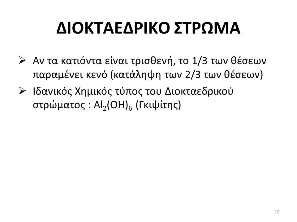 ΔΙΟΚΤΑΕΔΡΙΚΟ ΣΤΡΩΜΑ  Αν τα κατιόντα είναι τρισθενή, το 1/3 των θέσεων παραμένει κενό (κατάληψη των 2/3 των θέσεων)  Ιδανικός Χημικός τύπος του Διοκταεδρικού στρώματος : Al 2 (OH) 6 (Γκιψίτης) 10