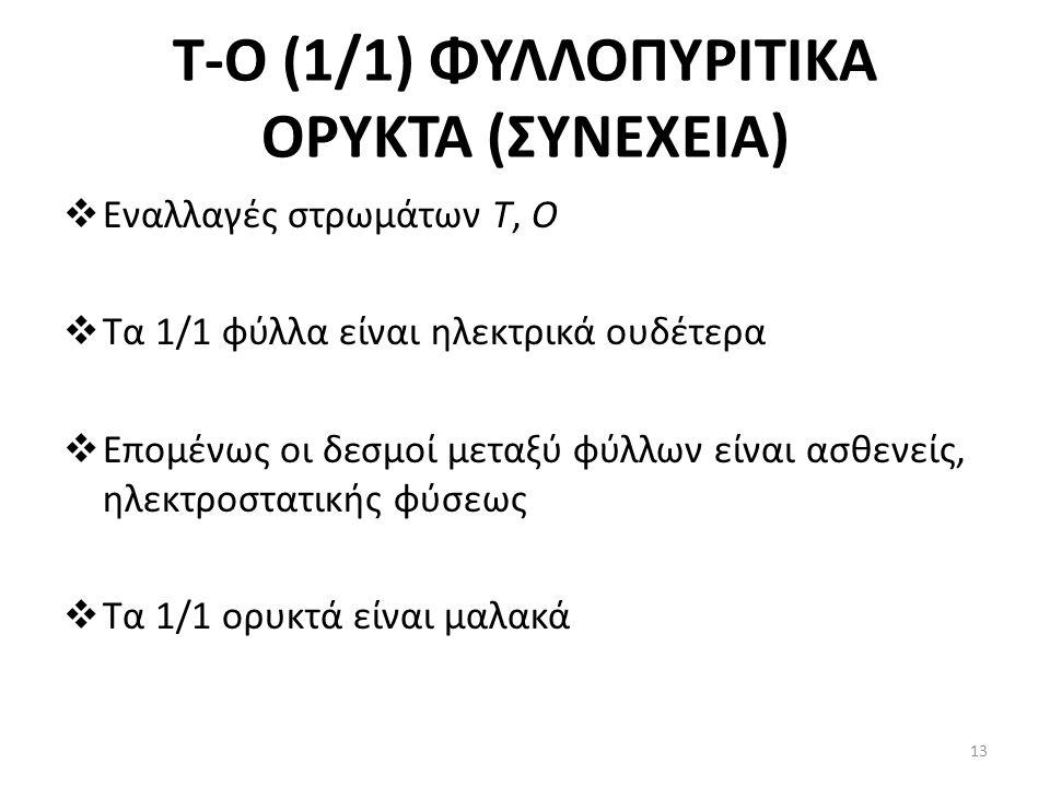 Τ-Ο (1/1) ΦΥΛΛΟΠΥΡΙΤΙΚΑ ΟΡΥΚΤΑ (ΣΥΝΕΧΕΙΑ)  Eναλλαγές στρωμάτων Τ, Ο  Τα 1/1 φύλλα είναι ηλεκτρικά ουδέτερα  Επομένως οι δεσμοί μεταξύ φύλλων είναι ασθενείς, ηλεκτροστατικής φύσεως  Τα 1/1 ορυκτά είναι μαλακά 13