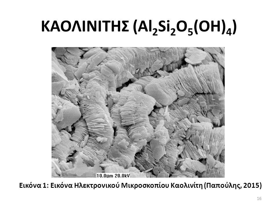 ΚΑΟΛΙΝΙΤΗΣ (Al 2 Si 2 O 5 (OH) 4 ) Εικόνα 1: Εικόνα Ηλεκτρονικού Μικροσκοπίου Καολινίτη (Παπούλης, 2015) 16