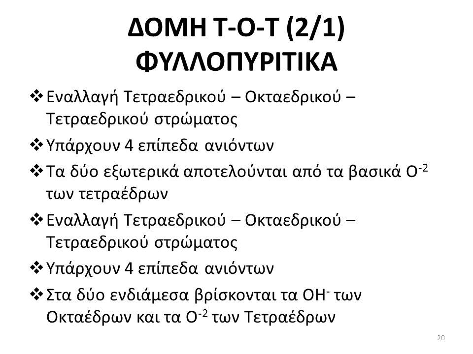 ΔΟΜΗ Τ-Ο-T (2/1) ΦΥΛΛΟΠΥΡΙΤΙΚΑ  Εναλλαγή Τετραεδρικού – Οκταεδρικού – Τετραεδρικού στρώματος  Υπάρχουν 4 επίπεδα ανιόντων  Τα δύο εξωτερικά αποτελούνται από τα βασικά Ο -2 των τετραέδρων  Εναλλαγή Τετραεδρικού – Οκταεδρικού – Τετραεδρικού στρώματος  Υπάρχουν 4 επίπεδα ανιόντων  Στα δύο ενδιάμεσα βρίσκονται τα ΟΗ - των Οκταέδρων και τα Ο -2 των Τετραέδρων 20