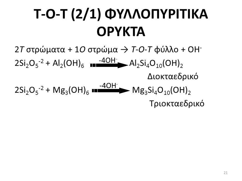 Τ-Ο-T (2/1) ΦΥΛΛΟΠΥΡΙΤΙΚΑ ΟΡΥΚΤΑ 2T στρώματα + 1Ο στρώμα → Τ-Ο-T φύλλο + ΟΗ - 2Si 2 O 5 -2 + Al 2 (OH) 6 Al 2 Si 4 O 10 (OH) 2 Διοκταεδρικό 2Si 2 O 5 -2 + Mg 3 (OH) 6 Mg 3 Si 4 O 10 (OH) 2 Τριοκταεδρικό -4ΟΗ - 21