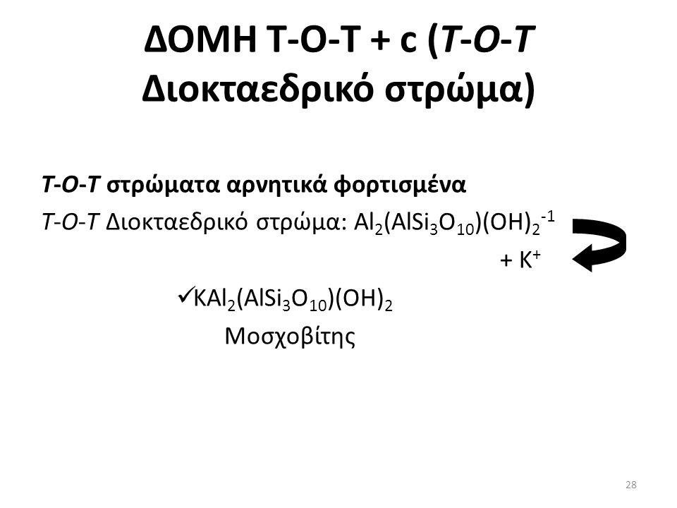 ΔΟΜΗ Τ-Ο-T + c (Τ-Ο-Τ Διοκταεδρικό στρώμα) T-O-T στρώματα αρνητικά φορτισμένα Τ-Ο-Τ Διοκταεδρικό στρώμα: Al 2 (AlSi 3 O 10 )(OH) 2 -1 + K + KAl 2 (AlSi 3 O 10 )(OH) 2 Μοσχοβίτης 28