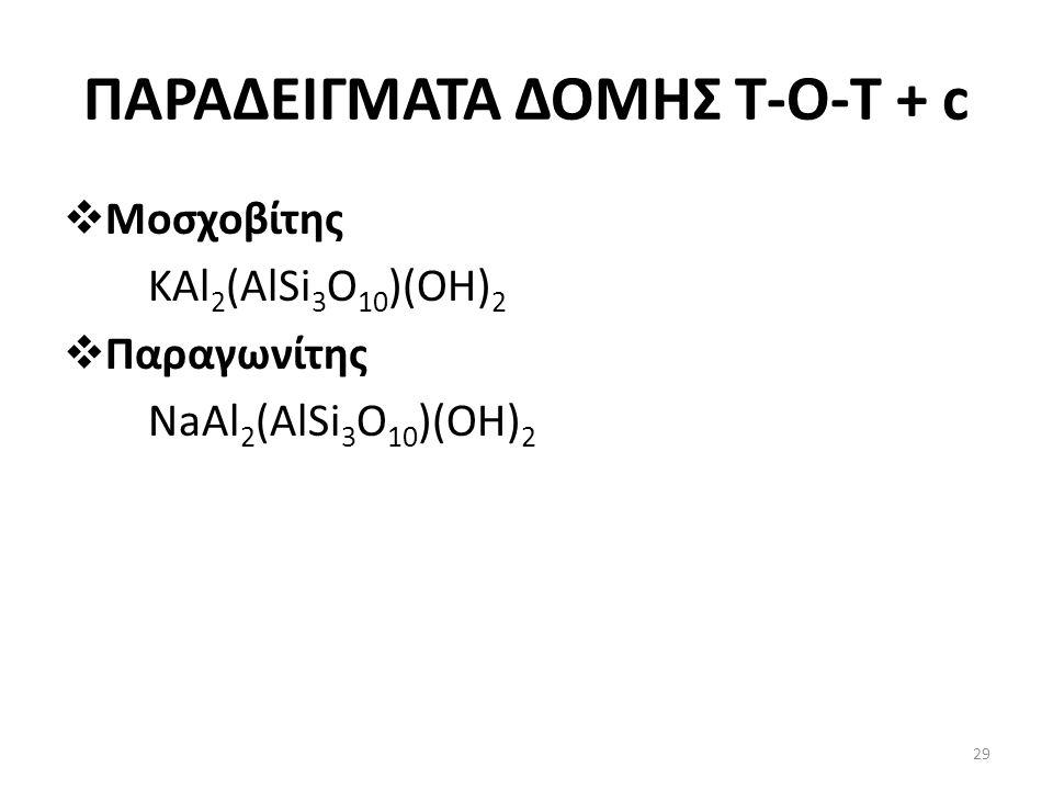 ΠΑΡΑΔΕΙΓΜΑΤΑ ΔΟΜΗΣ Τ-Ο-T + c  Μοσχοβίτης KAl 2 (AlSi 3 O 10 )(OH) 2  Παραγωνίτης NaAl 2 (AlSi 3 O 10 )(OH) 2 29