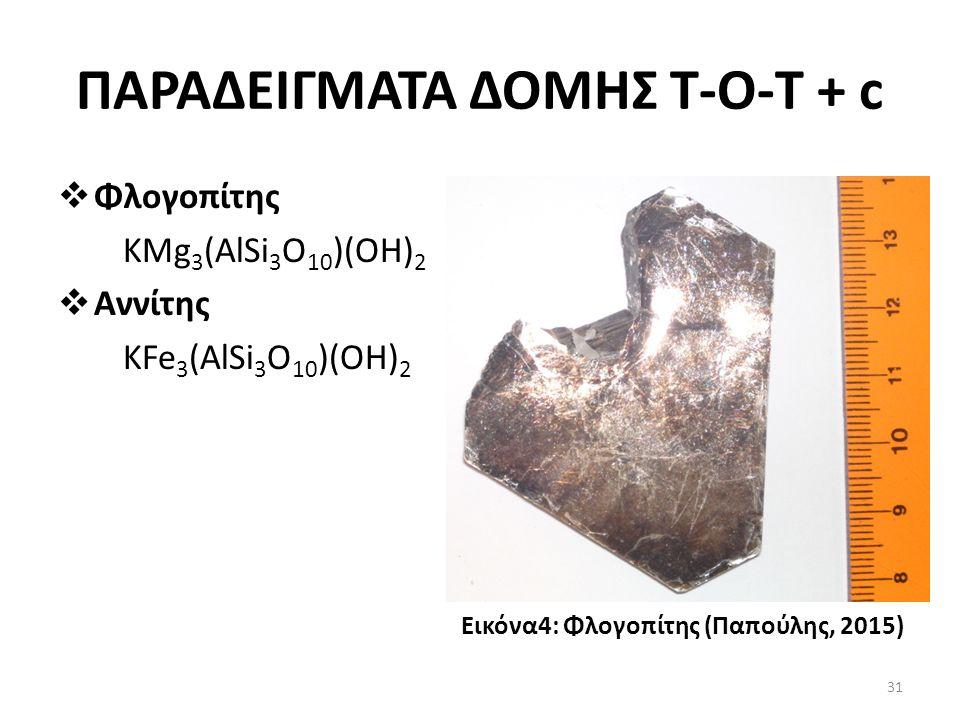 ΠΑΡΑΔΕΙΓΜΑΤΑ ΔΟΜΗΣ Τ-Ο-T + c  Φλογοπίτης KMg 3 (AlSi 3 O 10 )(OH) 2  Αννίτης KFe 3 (AlSi 3 O 10 )(OH) 2 Εικόνα4: Φλογοπίτης (Παπούλης, 2015) 31