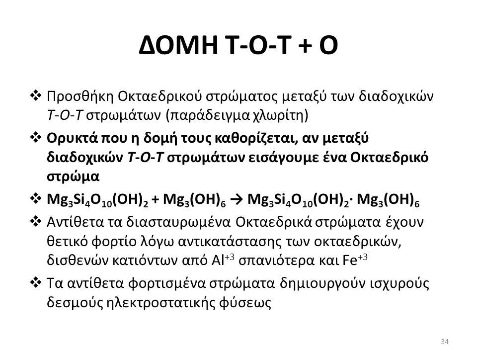 ΔΟΜΗ Τ-Ο-T + O  Προσθήκη Οκταεδρικού στρώματος μεταξύ των διαδοχικών Τ-Ο-Τ στρωμάτων (παράδειγμα χλωρίτη)  Ορυκτά που η δομή τους καθορίζεται, αν μεταξύ διαδοχικών Τ-Ο-Τ στρωμάτων εισάγουμε ένα Οκταεδρικό στρώμα  Mg 3 Si 4 O 10 (OH) 2 + Mg 3 (OH) 6 → Mg 3 Si 4 O 10 (OH) 2 · Mg 3 (OH) 6  Αντίθετα τα διασταυρωμένα Οκταεδρικά στρώματα έχουν θετικό φορτίο λόγω αντικατάστασης των οκταεδρικών, δισθενών κατιόντων από Al +3 σπανιότερα και Fe +3  Τα αντίθετα φορτισμένα στρώματα δημιουργούν ισχυρούς δεσμούς ηλεκτροστατικής φύσεως 34