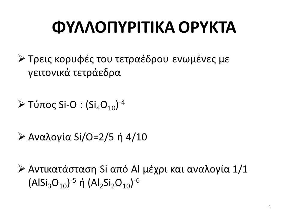 ΦΥΛΛΟΠΥΡΙΤΙΚΑ ΟΡΥΚΤΑ  Τρεις κορυφές του τετραέδρου ενωμένες με γειτονικά τετράεδρα  Τύπος Si-O : (Si 4 O 10 ) -4  Αναλογία Si/O=2/5 ή 4/10  Αντικατάσταση Si από Al μέχρι και αναλογία 1/1 (AlSi 3 O 10 ) -5 ή (Al 2 Si 2 O 10 ) -6 4