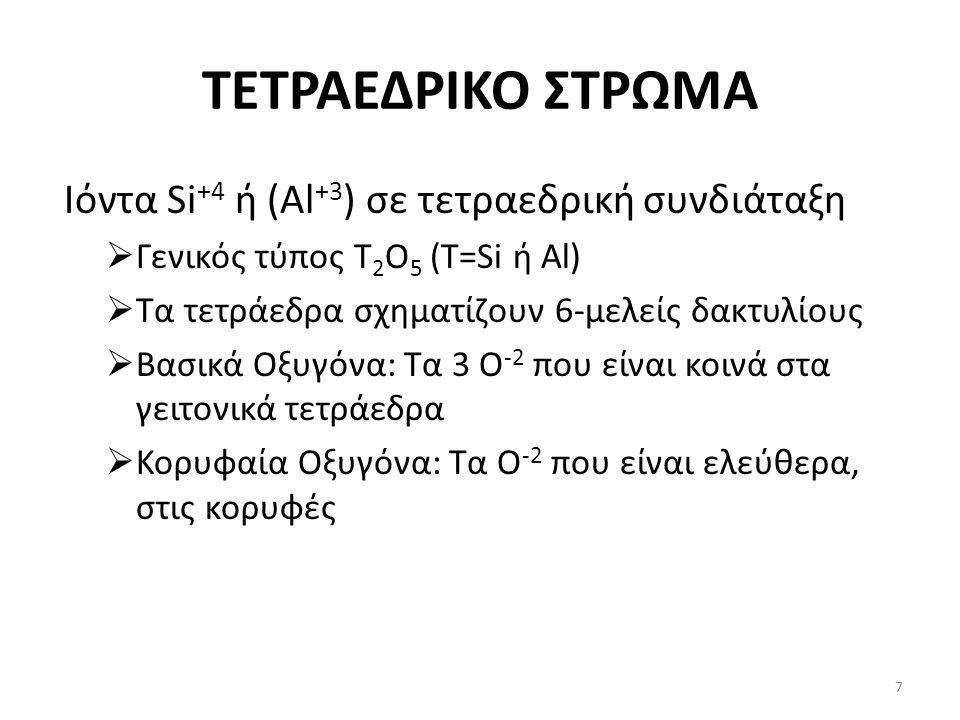 ΤΕΤΡΑΕΔΡΙΚΟ ΣΤΡΩΜΑ Ιόντα Si +4 ή (Al +3 ) σε τετραεδρική συνδιάταξη  Γενικός τύπος T 2 O 5 (T=Si ή Al)  Τα τετράεδρα σχηματίζουν 6-μελείς δακτυλίους  Βασικά Οξυγόνα: Τα 3 Ο -2 που είναι κοινά στα γειτονικά τετράεδρα  Κορυφαία Οξυγόνα: Τα Ο -2 που είναι ελεύθερα, στις κορυφές 7