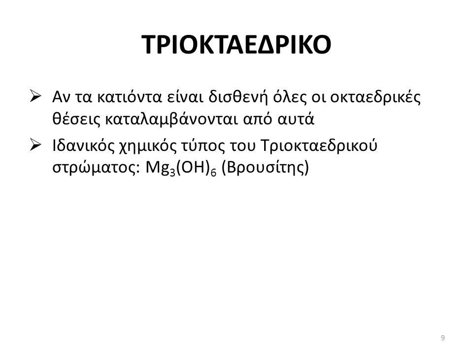 ΤΡΙΟΚΤΑΕΔΡΙΚΟ  Αν τα κατιόντα είναι δισθενή όλες οι οκταεδρικές θέσεις καταλαμβάνονται από αυτά  Ιδανικός χημικός τύπος του Τριοκταεδρικού στρώματος: Mg 3 (OH) 6 (Βρουσίτης) 9