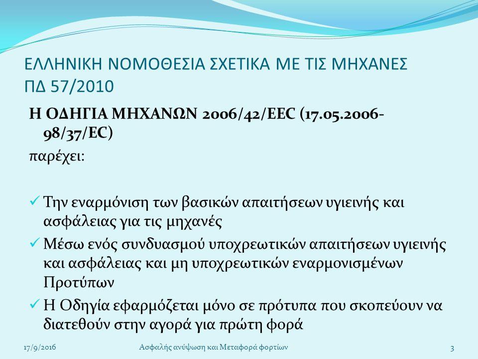 ΕΛΛΗΝΙΚΗ ΝΟΜΟΘΕΣΙΑ ΣΧΕΤΙΚΑ ΜΕ ΤΙΣ ΜΗΧΑΝΕΣ ΠΔ 57/2010 Η ΟΔΗΓΙΑ ΜΗΧΑΝΩΝ 2006/42/EEC (17.05.2006- 98/37/EC) παρέχει: Την εναρμόνιση των βασικών απαιτήσεων υγιεινής και ασφάλειας για τις μηχανές Μέσω ενός συνδυασμού υποχρεωτικών απαιτήσεων υγιεινής και ασφάλειας και μη υποχρεωτικών εναρμονισμένων Προτύπων Η Οδηγία εφαρμόζεται μόνο σε πρότυπα που σκοπεύουν να διατεθούν στην αγορά για πρώτη φορά 17/9/20163Ασφαλής ανύψωση και Μεταφορά φορτίων