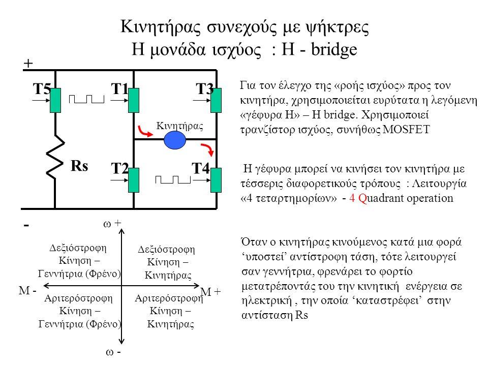 Κινητήρας συνεχούς με ψήκτρες Η μονάδα ισχύος : Η - bridge Για τον έλεγχο της «ροής ισχύος» προς τον κινητήρα, χρησιμοποιείται ευρύτατα η λεγόμενη «γέφυρα Η» – Η bridge.