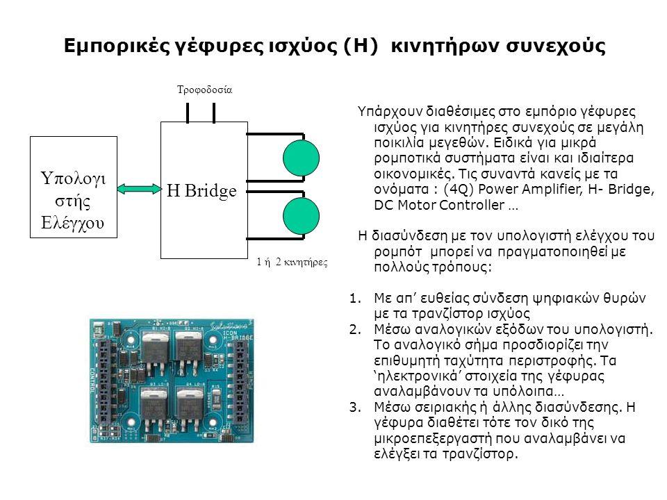 Εμπορικές γέφυρες ισχύος (Η) κινητήρων συνεχούς Υπάρχουν διαθέσιμες στο εμπόριο γέφυρες ισχύος για κινητήρες συνεχούς σε μεγάλη ποικιλία μεγεθών.