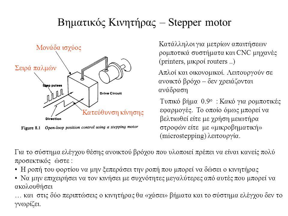 Βηματικός Κινητήρας – Stepper motor Κατάλληλοι για μετρίων απαιτήσεων ρομποτικά συστήματα και CNC μηχανές (printers, μικροί routers..) Για το σύστημα ελέγχου θέσης ανοικτού βρόχου που υλοποιεί πρέπει να είναι κανείς πολύ προσεκτικός ώστε : Η ροπή του φορτίου να μην ξεπεράσει την ροπή που μπορεί να δώσει ο κινητήρας Να μην επιχειρήσει να τον κινήσει με συχνότητες μεγαλύτερες από αυτές που μπορεί να ακολουθήσει … και στις δύο περιπτώσεις ο κινητήρας θα «χάσει» βήματα και το σύστημα ελέγχου δεν το γνωρίζει.