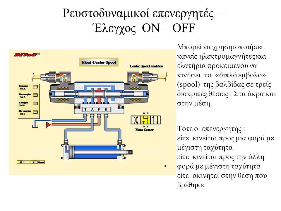 Ρευστοδυναμικοί επενεργητές – Έλεγχος ΟΝ – OFF Μπορεί να χρησιμοποιήσει κανείς ηλεκτρομαγνήτες και ελατήρια προκειμένου να κινήσει το «διπλό έμβολο» (spool) της βαλβίδας σε τρείς διακριτές θέσεις : Στα άκρα και στην μέση.