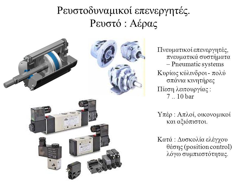 Πνευματικοί επενεργητές, πνευματικά συστήματα – Pneumatic systems Κυρίως κύλινδροι - πολύ σπάνια κινητήρες Πίεση λειτουργίας : 7..
