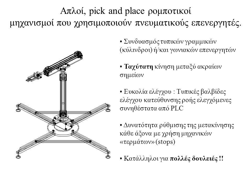 Απλοί, pick and place ρομποτικοί μηχανισμοί που χρησιμοποιούν πνευματικούς επενεργητές.