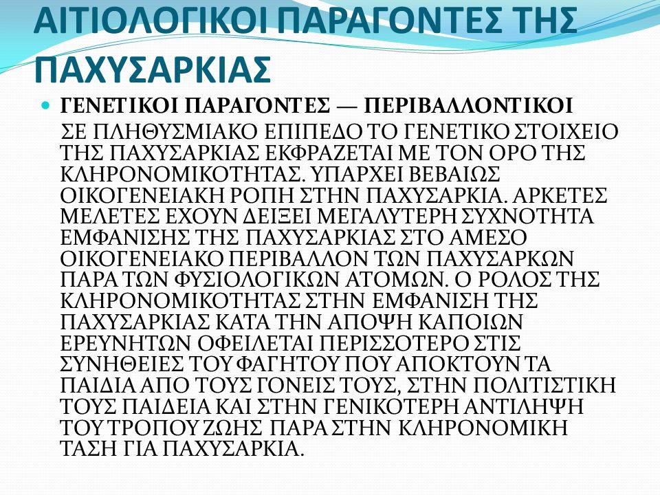 ΑΙΤΙΟΛΟΓΙΚΟΙ ΠΑΡΑΓΟΝΤΕΣ ΤΗΣ ΠΑΧΥΣΑΡΚΙΑΣ ΓΕΝΕΤΙΚΟΙ ΠΑΡΑΓΟΝΤΕΣ — ΠΕΡΙΒΑΛΛΟΝΤΙΚΟΙ ΣΕ ΠΛΗΘΥΣΜΙΑΚΟ ΕΠΙΠΕΔΟ ΤΟ ΓΕΝΕΤΙΚΟ ΣΤΟΙΧΕΙΟ ΤΗΣ ΠΑΧΥΣΑΡΚΙΑΣ ΕΚΦΡΑΖΕΤΑΙ ΜΕ ΤΟΝ ΟΡΟ ΤΗΣ ΚΛΗΡΟΝΟΜΙΚΟΤΗΤΑΣ.