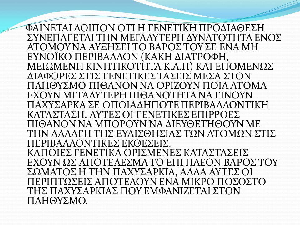 ΦΑΙΝΕΤΑΙ ΛΟΙΠΟΝ ΟΤΙ Η ΓΕΝΕΤΙΚΗ ΠΡΟΔΙΑΘΕΣΗ ΣΥΝΕΠΑΓΕΤΑΙ ΤΗΝ ΜΕΓΑΛΥΤΕΡΗ ΔΥΝΑΤΟΤΗΤΑ ΕΝΟΣ ΑΤΟΜΟΥ ΝΑ ΑΥΞΗΣΕΙ ΤΟ ΒΑΡΟΣ ΤΟΥ ΣΕ ΕΝΑ ΜΗ ΕΥΝΟΪΚΟ ΠΕΡΙΒΑΛΛΟΝ (ΚΑΚΗ ΔΙΑΤΡΟΦΗ, ΜΕΙΩΜΕΝΗ ΚΙΝΗΤΙΚΟΤΗΤΑ Κ.Λ.Π) ΚΑΙ ΕΠΟΜΕΝΩΣ ΔΙΑΦΟΡΕΣ ΣΤΙΣ ΓΕΝΕΤΙΚΕΣ ΤΑΣΕΙΣ ΜΕΣΑ ΣΤΟΝ ΠΛΗΘΥΣΜΟ ΠΙΘΑΝΟΝ ΝΑ ΟΡΙΖΟΥΝ ΠΟΙΑ ΑΤΟΜΑ ΕΧΟΥΝ ΜΕΓΑΛΥΤΕΡΗ ΠΙΘΑΝΟΤΗΤΑ ΝΑ ΓΙΝΟΥΝ ΠΑΧΥΣΑΡΚΑ ΣΕ ΟΠΟΙΑΔΗΠΟΤΕ ΠΕΡΙΒΑΛΛΟΝΤΙΚΗ ΚΑΤΑΣΤΑΣΗ.