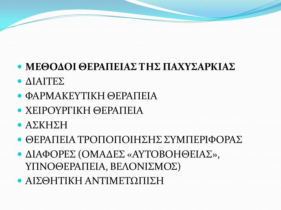 ΜΕΘΟΔΟΙ ΘΕΡΑΠΕΙΑΣ ΤΗΣ ΠΑΧΥΣΑΡΚΙΑΣ ΔΙΑΙΤΕΣ ΦΑΡΜΑΚΕΥΤΙΚΗ ΘΕΡΑΠΕΙΑ ΧΕΙΡΟΥΡΓΙΚΗ ΘΕΡΑΠΕΙΑ ΑΣΚΗΣΗ ΘΕΡΑΠΕΙΑ ΤΡΟΠΟΠΟΙΗΣΗΣ ΣΥΜΠΕΡΙΦΟΡΑΣ ΔΙΑΦΟΡΕΣ (ΟΜΑΔΕΣ «ΑΥΤΟΒΟΗΘΕΙΑΣ», ΥΠΝΟΘΕΡΑΠΕΙΑ, ΒΕΛΟΝΙΣΜΟΣ) ΑΙΣΘΗΤΙΚΗ ΑΝΤΙΜΕΤΩΠΙΣΗ
