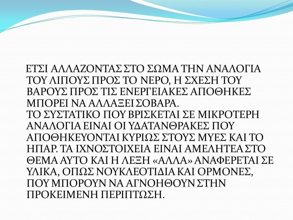 ΕΤΣΙ ΑΛΛΑΖΟΝΤΑΣ ΣΤΟ ΣΩΜΑ ΤΗΝ ΑΝΑΛΟΓΙΑ ΤΟΥ ΛΙΠΟΥΣ ΠΡΟΣ ΤΟ ΝΕΡΟ, Η ΣΧΕΣΗ ΤΟΥ ΒΑΡΟΥΣ ΠΡΟΣ ΤΙΣ ΕΝΕΡΓΕΙΑΚΕΣ ΑΠΟΘΗΚΕΣ ΜΠΟΡΕΙ ΝΑ ΑΛΛΑΞΕΙ ΣΟΒΑΡΑ. ΤΟ ΣΥΣΤΑΤΙΚΟ