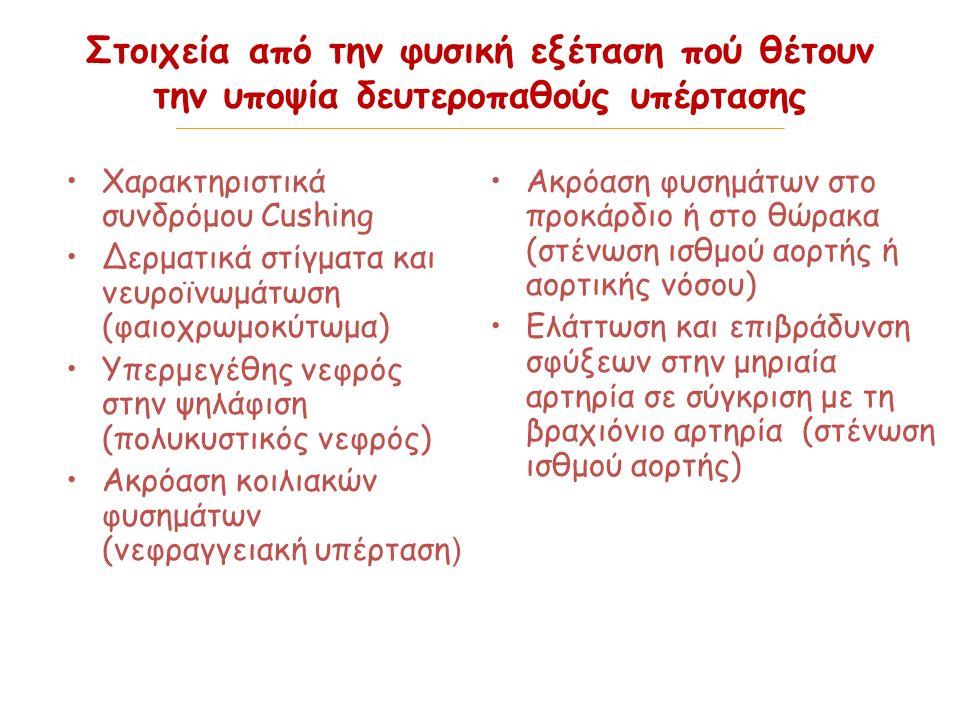 Στοιχεία από την φυσική εξέταση πού θέτουν την υποψία δευτεροπαθούς υπέρτασης Χαρακτηριστικά συνδρόμου CushingΧαρακτηριστικά συνδρόμου Cushing Δερματικά στίγματα και νευροϊνωμάτωση (φαιοχρωμοκύτωμα)Δερματικά στίγματα και νευροϊνωμάτωση (φαιοχρωμοκύτωμα) Υπερμεγέθης νεφρός στην ψηλάφιση (πολυκυστικός νεφρός)Υπερμεγέθης νεφρός στην ψηλάφιση (πολυκυστικός νεφρός) Ακρόαση κοιλιακών φυσημάτων (νεφραγγειακή υπέρταση )Ακρόαση κοιλιακών φυσημάτων (νεφραγγειακή υπέρταση ) Ακρόαση φυσημάτων στο προκάρδιο ή στο θώρακα (στένωση ισθμού αορτής ή αορτικής νόσου) Ελάττωση και επιβράδυνση σφύξεων στην μηριαία αρτηρία σε σύγκριση με τη βραχιόνιο αρτηρία (στένωση ισθμού αορτής)