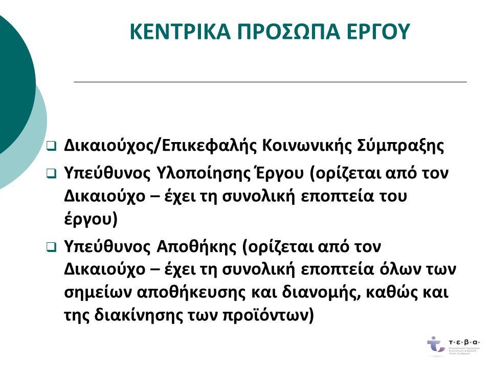 ΚΕΝΤΡΙΚΑ ΠΡΟΣΩΠΑ ΕΡΓΟΥ  Υπεύθυνοι Διανομής (ορίζονται με Πρακτικό της Κοινωνικής Σύμπραξης – ένας για κάθε σημείο διανομής) Εταίροι (συνεπικουρούν τον Δικαιούχο σε όλα ταστάδια υλοποίησης του έργου – οργάνωσηωφελουμένων, διανομή, συνοδευτικά μέτρα)  Εταίροι (συνεπικουρούν τον Δικαιούχο σε όλα τα στάδια υλοποίησης του έργου – οργάνωση ωφελουμένων, διανομή, συνοδευτικά μέτρα) Ωφελούμενοι (ενημερώνονται και κατευθύνονταιαπό την Κοινωνική Σύμπραξη με κάθε πρόσφορομέσο, π.χ.