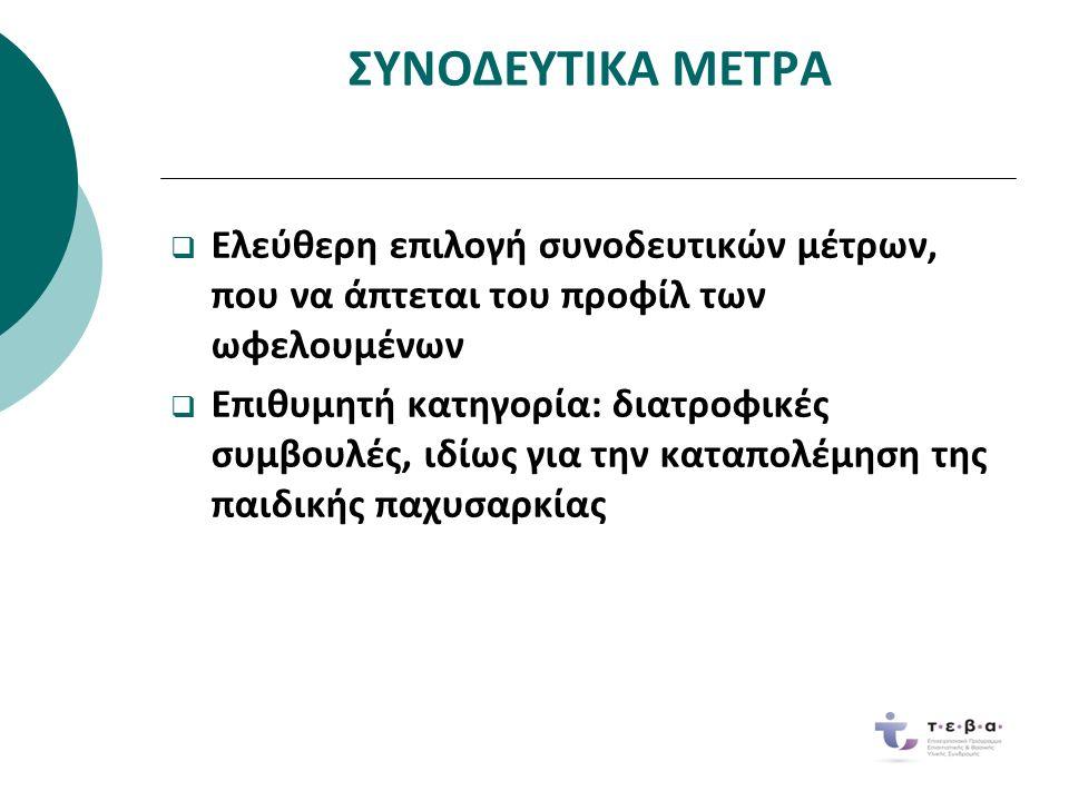 ΣΥΝΟΔΕΥΤΙΚΑ ΜΕΤΡΑ Ελεύθερη επιλογή συνοδευτικών μέτρων,που να άπτεται του προφίλ τωνωφελουμένων  Ελεύθερη επιλογή συνοδευτικών μέτρων, που να άπτεται του προφίλ των ωφελουμένων Επιθυμητή κατηγορία: διατροφικέςσυμβουλές, ιδίως για την καταπολέμηση τηςπαιδικής παχυσαρκίας  Επιθυμητή κατηγορία: διατροφικές συμβουλές, ιδίως για την καταπολέμηση της παιδικής παχυσαρκίας