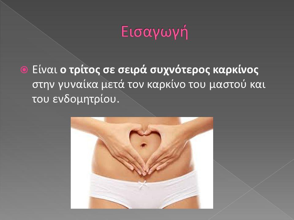 Είναι ο τρίτος σε σειρά συχνότερος καρκίνος στην γυναίκα μετά τον καρκίνο του μαστού και του ενδομητρίου.
