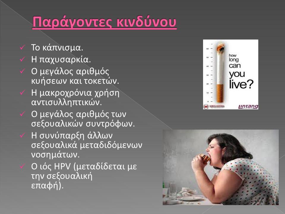 Το κάπνισμα. Η παχυσαρκία. Ο μεγάλος αριθμός κυήσεων και τοκετών. Η μακροχρόνια χρήση αντισυλληπτικών. Ο μεγάλος αριθμός των σεξουαλικών συντρόφων. Η