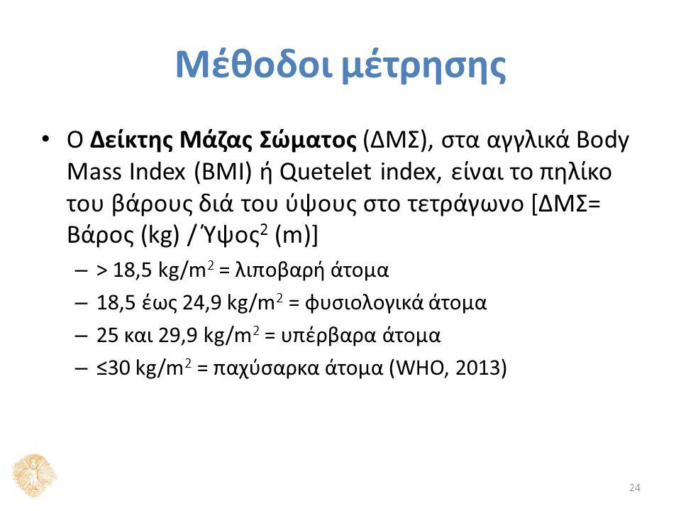 Μέθοδοι μέτρησης Ο Δείκτης Μάζας Σώματος (ΔΜΣ), στα αγγλικά Body Mass Index (BMI) ή Quetelet index, είναι το πηλίκο του βάρους διά του ύψους στο τετράγωνο [ΔΜΣ= Βάρος (kg) / Ύψος 2 (m)] – > 18,5 kg/m 2 = λιποβαρή άτομα – 18,5 έως 24,9 kg/m 2 = φυσιολογικά άτομα – 25 και 29,9 kg/m 2 = υπέρβαρα άτομα – ≤30 kg/m 2 = παχύσαρκα άτομα (WHO, 2013) 24
