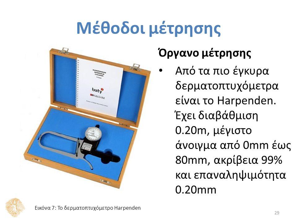 Μέθοδοι μέτρησης 29 Όργανο μέτρησης Από τα πιο έγκυρα δερματοπτυχόμετρα είναι το Harpenden.